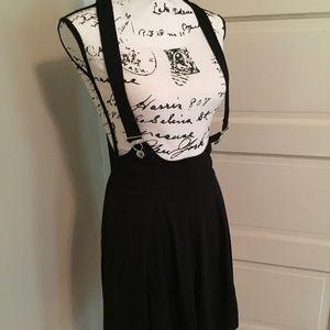 H&M Black Knit Overalls Suspenders Dress Skirt